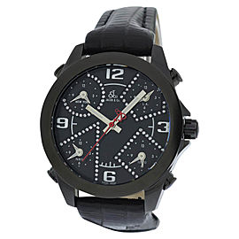 Jacob & Co. Five 5 Time Zone JC-M2BCDA Stainless Steel / Leather 40mm Mens Watch