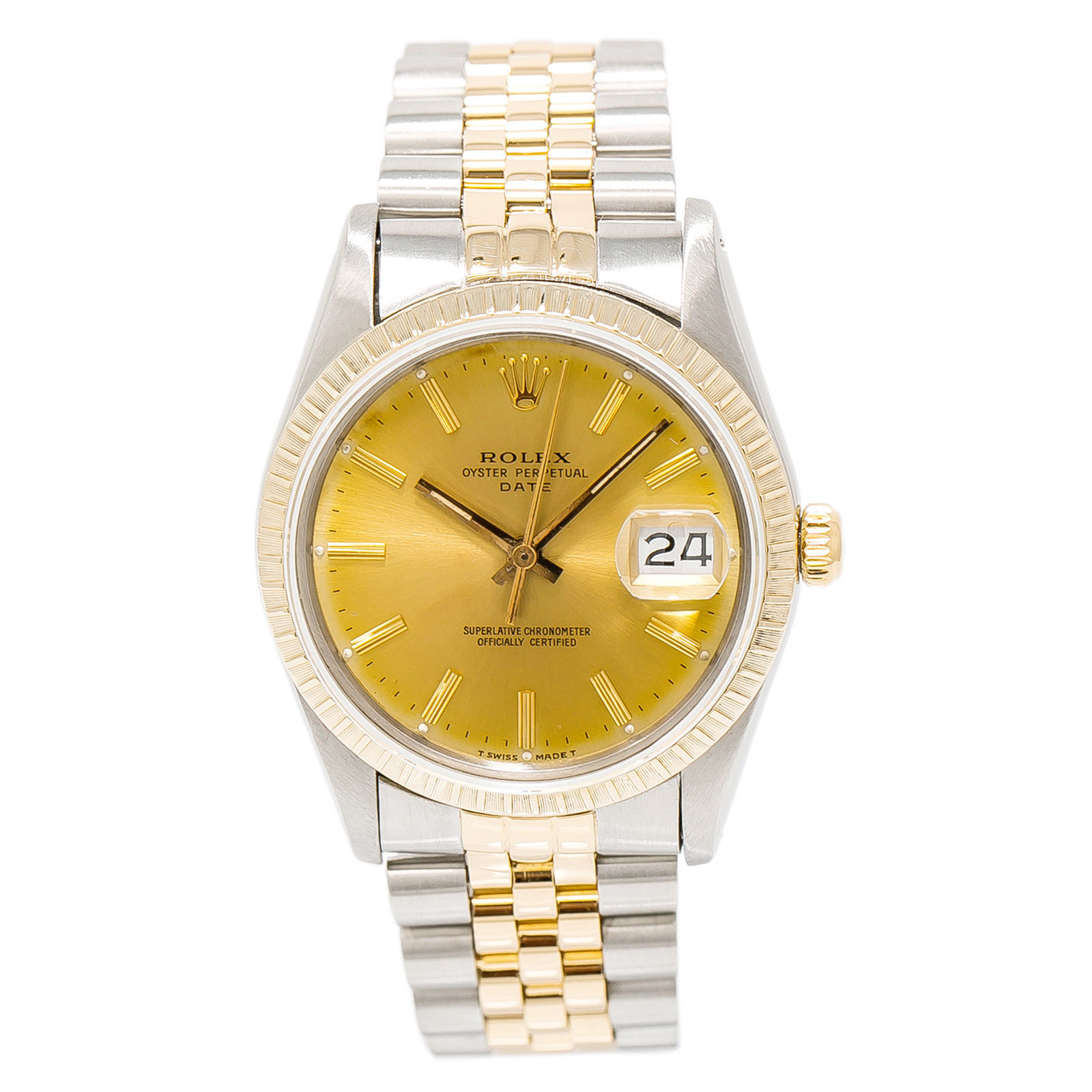 """Image of """"Rolex Date 15053 Stainless Steel & 18K Yellow Gold Gold Dial Automatic"""""""
