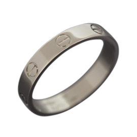 Cartier 18K White Gold Mini Love Band Ring 8.25