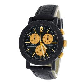 Bulgari Carbongold Marbella BB38CLCH Carbon & 18K Yellow Gold / Leather Quartz 38mm Unisex Watch