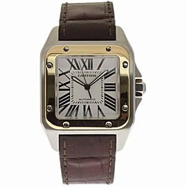 Cartier Santos 100 W20072X7 Stainless Steel & Leather Automatic 38mm Mens Watch