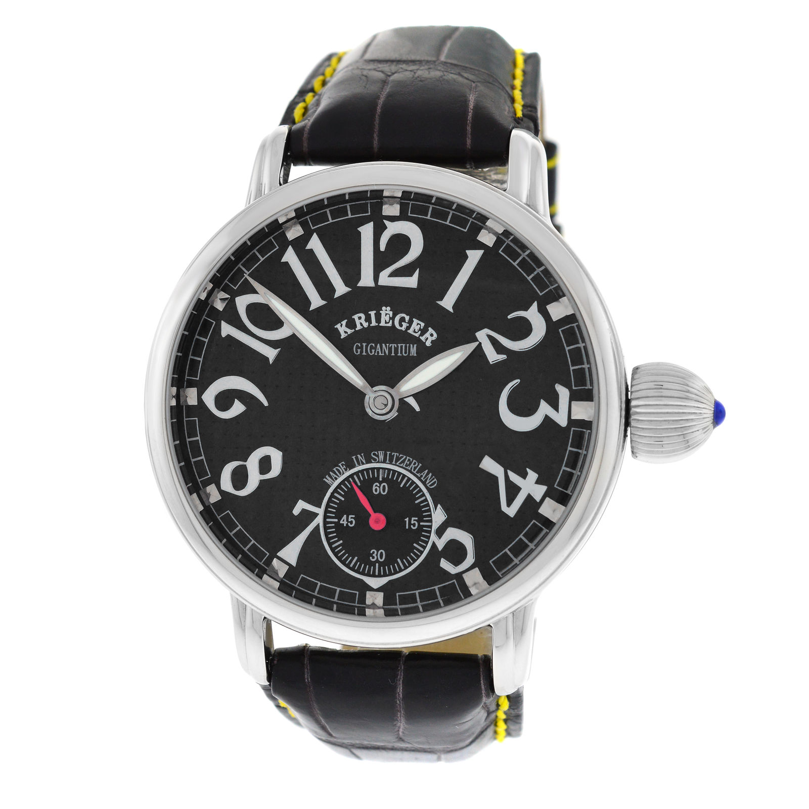 "Image of ""Krieger Gigantium K7007 Stainless Steel & Leather Automatic 42mm Mens"""