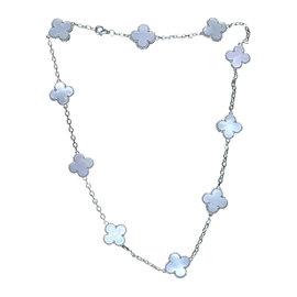 Van Cleef & Arpels Vintage Alhambra 18K White Gold & 10 Mother of Pearl Motif Necklace