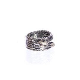 David Yurman 925 Sterling Silver & 0.09ct. Diamonds Double X Crossover Ring Size 6.5