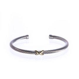 David Yurman 925 Sterling Silver & 18K Yellow Gold X-Station Bracelet