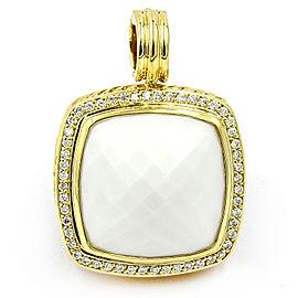 David Yurman Albion 18K Yellow Gold White Agate and Diamonds Pendant