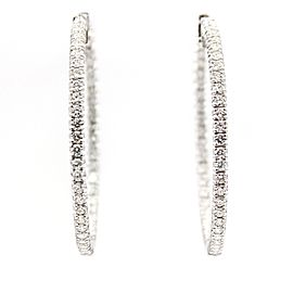 Judith Ripka 18K White Gold & Diamond Hoop Earrings