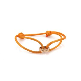 Cartier Love 18K Rose Gold & Charity Orange Cord Mini Charm Ring Bracelet