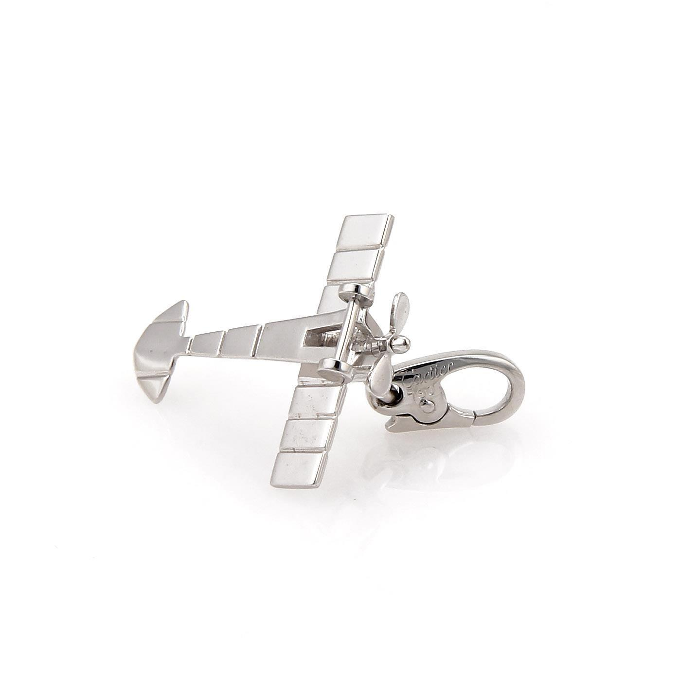 "Image of ""Cartier 18K White Gold Airplane Charm Pendant"""