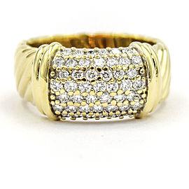 David Yurman Metro 18K Yellow Gold & 1ct Diamonds Wide Band Ring Size 7.5