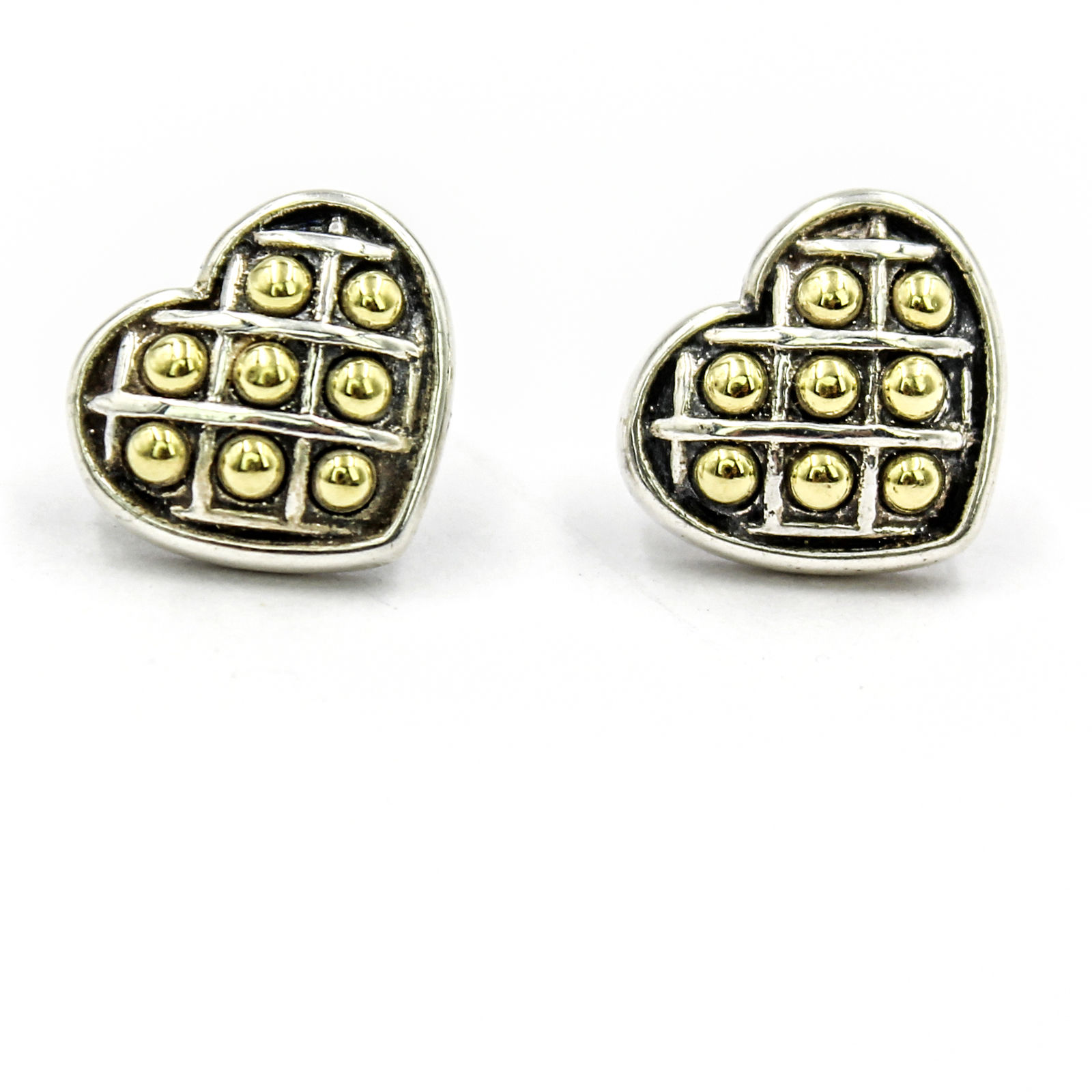 """Image of """"Lagos Caviar 18K Yellow Gold and 925 Sterling Silver Heart Stud"""""""