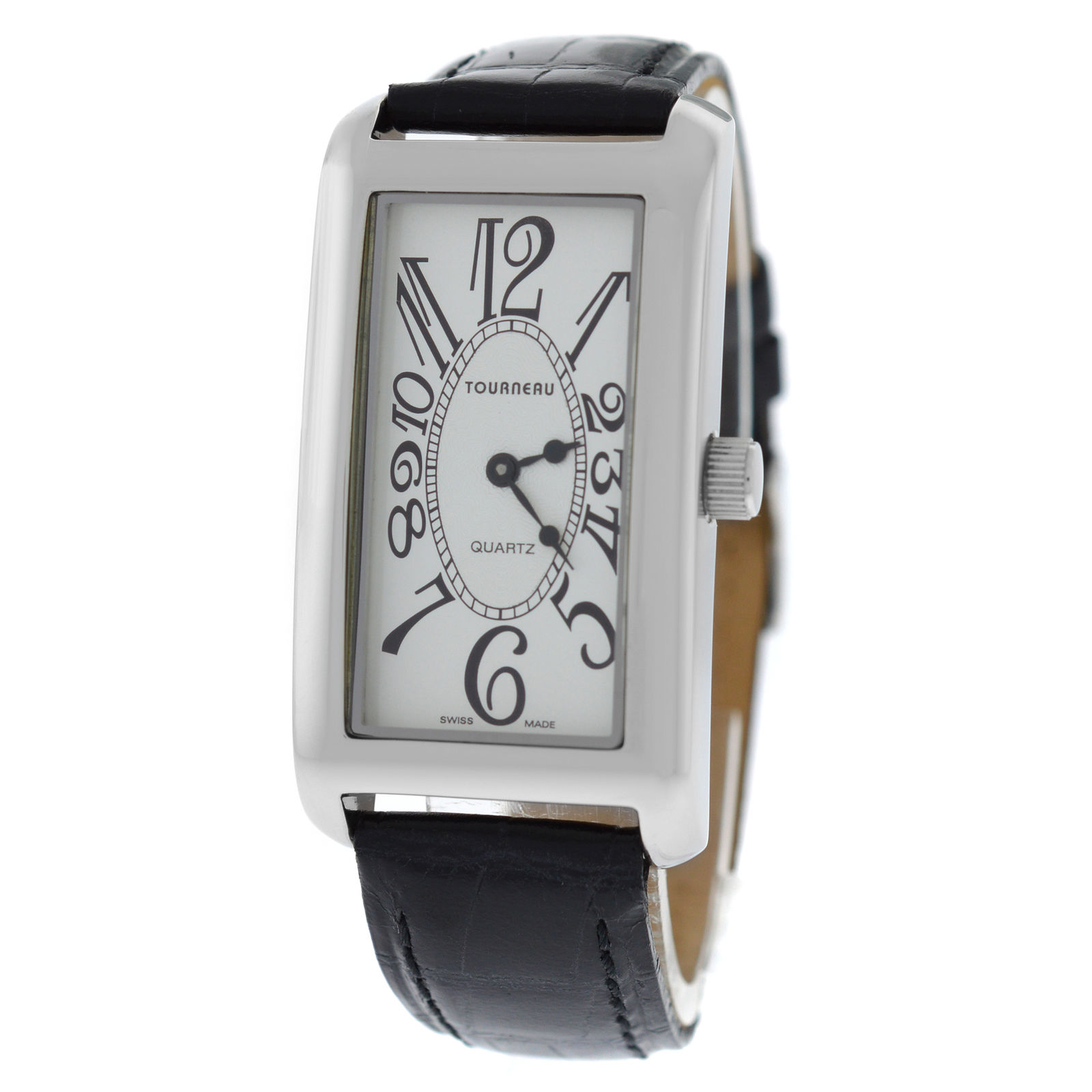 """Image of """"Tourneau Stainless Steel & Leather Quartz 25mm Unisex Watch"""""""