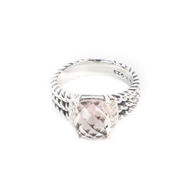 David Yurman Petite Wheaton 925 Sterling SIlver with Morganite & 0.08ct Diamonds Ring Size 6