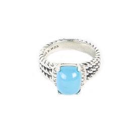 David Yurman Petite Wheaton 925 Sterling Silver with Turquoise & 0.08ct Diamond Ring Size 6