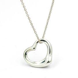 Tiffany & Co. Elsa Peretti 925 Sterling Silver Open Heart Pendant Necklace