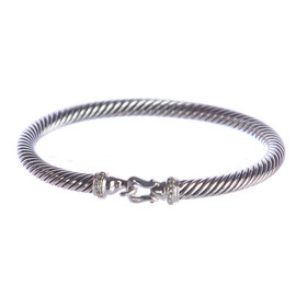 David Yurman Cable Buckle 925 Sterling Silver with 0.06ct Diamond Bracelet