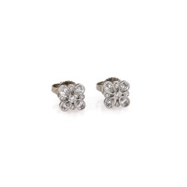 Tiffany & Co. Enchant PT950 Platinum with 0.35ct Diamond Floral Stud Earrings