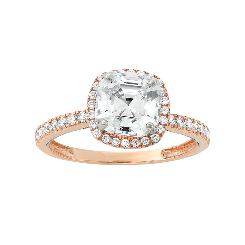 "Image of ""10k Two Tone Gold Cubic Zirconia Tiered Halo Ring"""