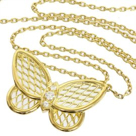 Van Cleef & Arpels 18K Yellow Gold Diamond Papillon Pendant Necklace