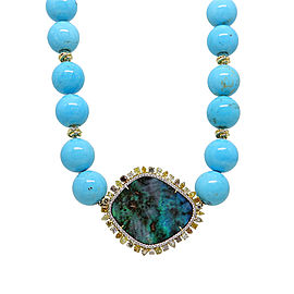 Pamela Huizenga 18K Yellow Gold 42.24 ct. Opal 5.90ct. Diamonds and Turqouise Bead Necklace