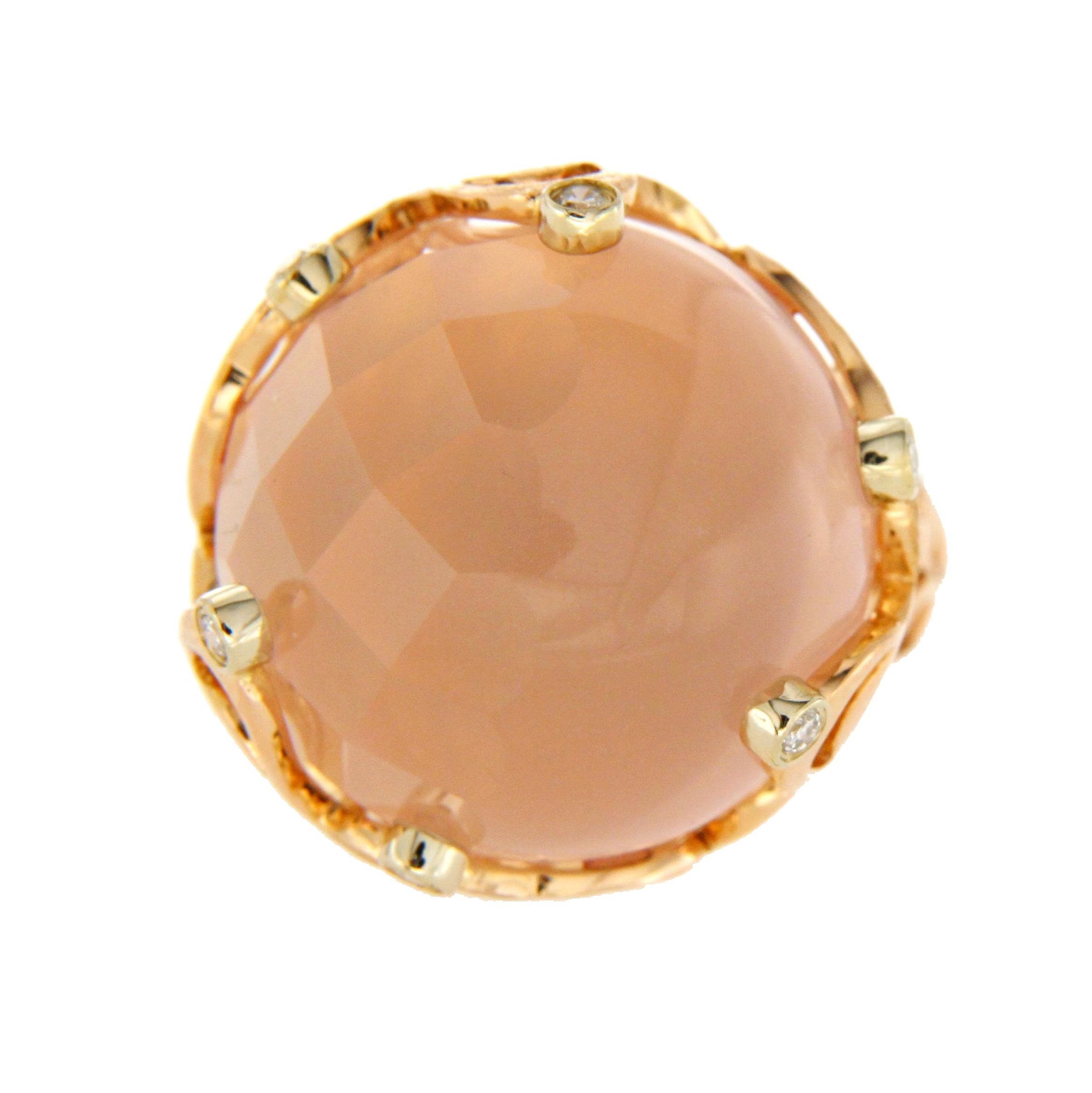 "Image of ""Chimento 18K Rose Gold Pink Quartz & Diamonds Boule Ring Size 6.5"""