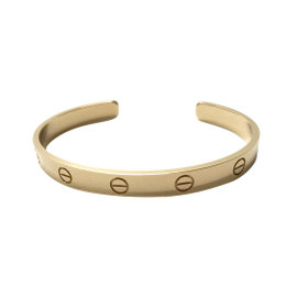 Cartier Love 18K Yellow Gold Open Bangle Bracelet Size 18
