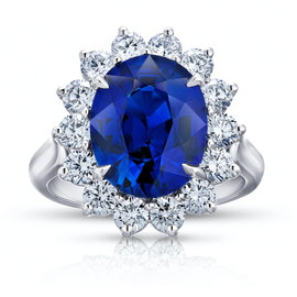 Platinum 5.55ct Oval Blue Sapphire and Diamond Ring Size 7
