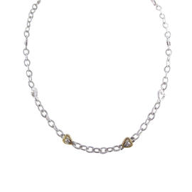 Judith Ripka Sterling Silver 18K Gold Diamond Heart Chain Link Necklace