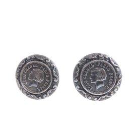 Chanel Silver Tone Metal Coco Mark Earrings
