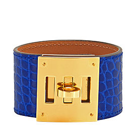 Hermes Blue Electric Shiny Alligator Leather Kelly Dog Cuff Bracelet