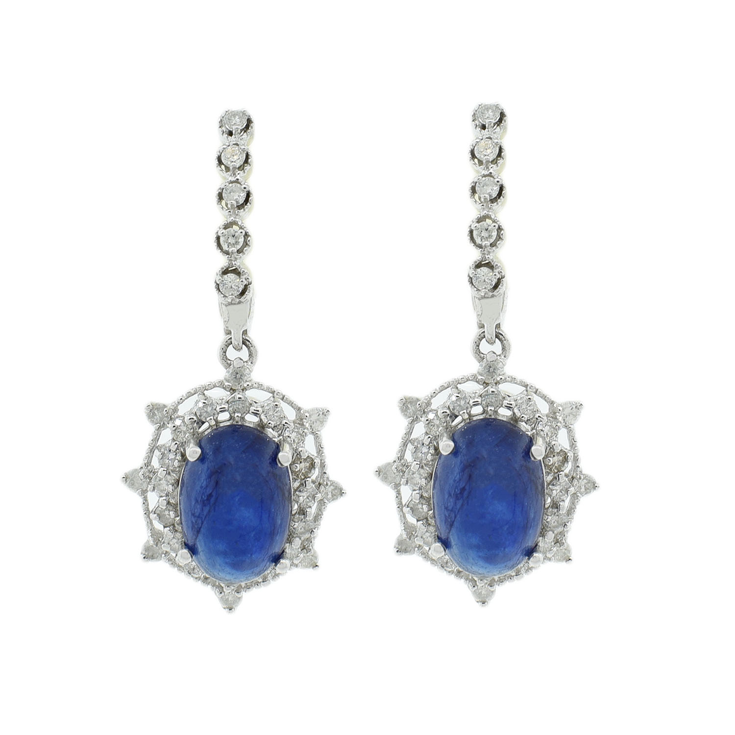 "Image of ""14Kt White Gold Sapphire and diamond dangle earrings"""