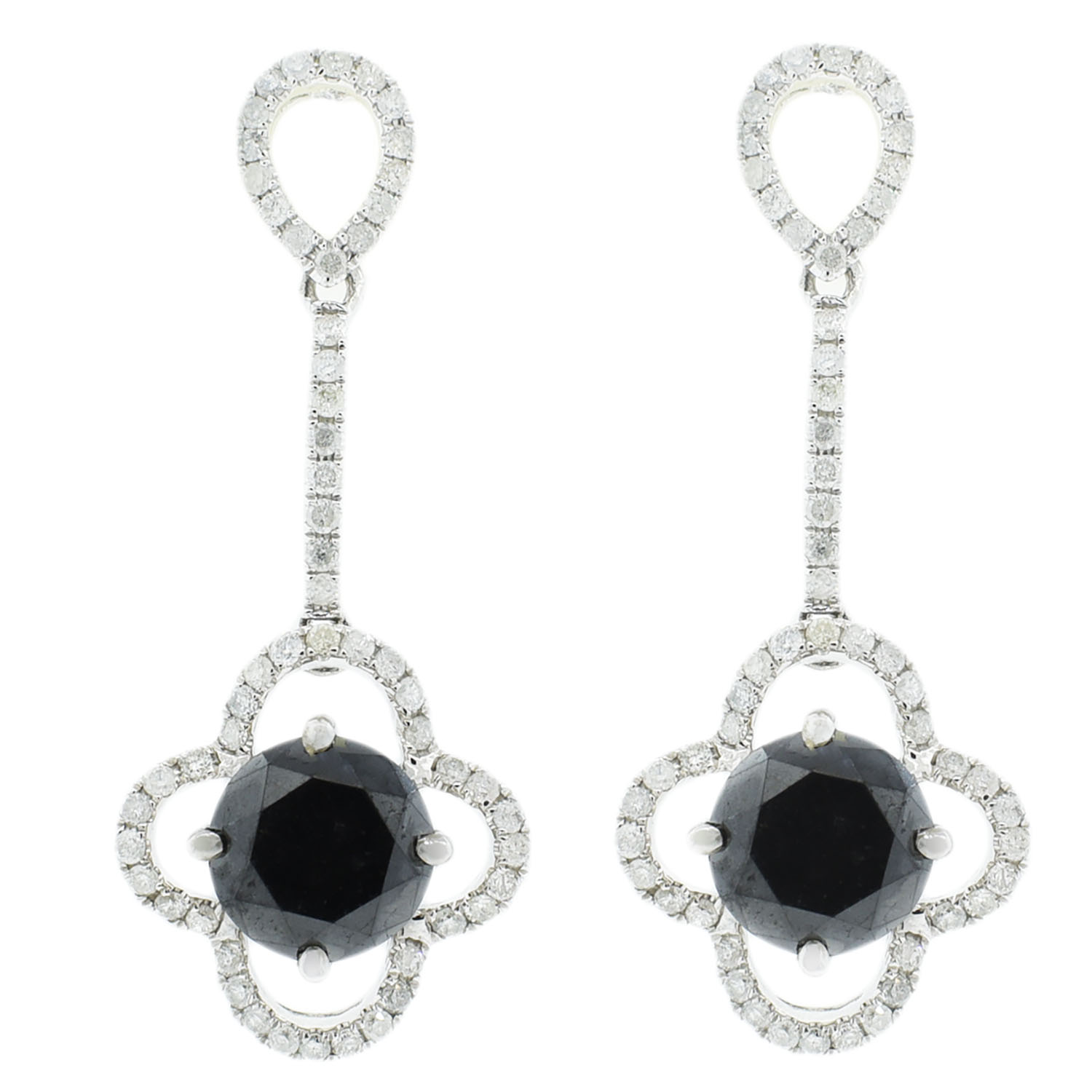 "Image of ""14Kt White Gold Black and White diamond dangle earrings"""