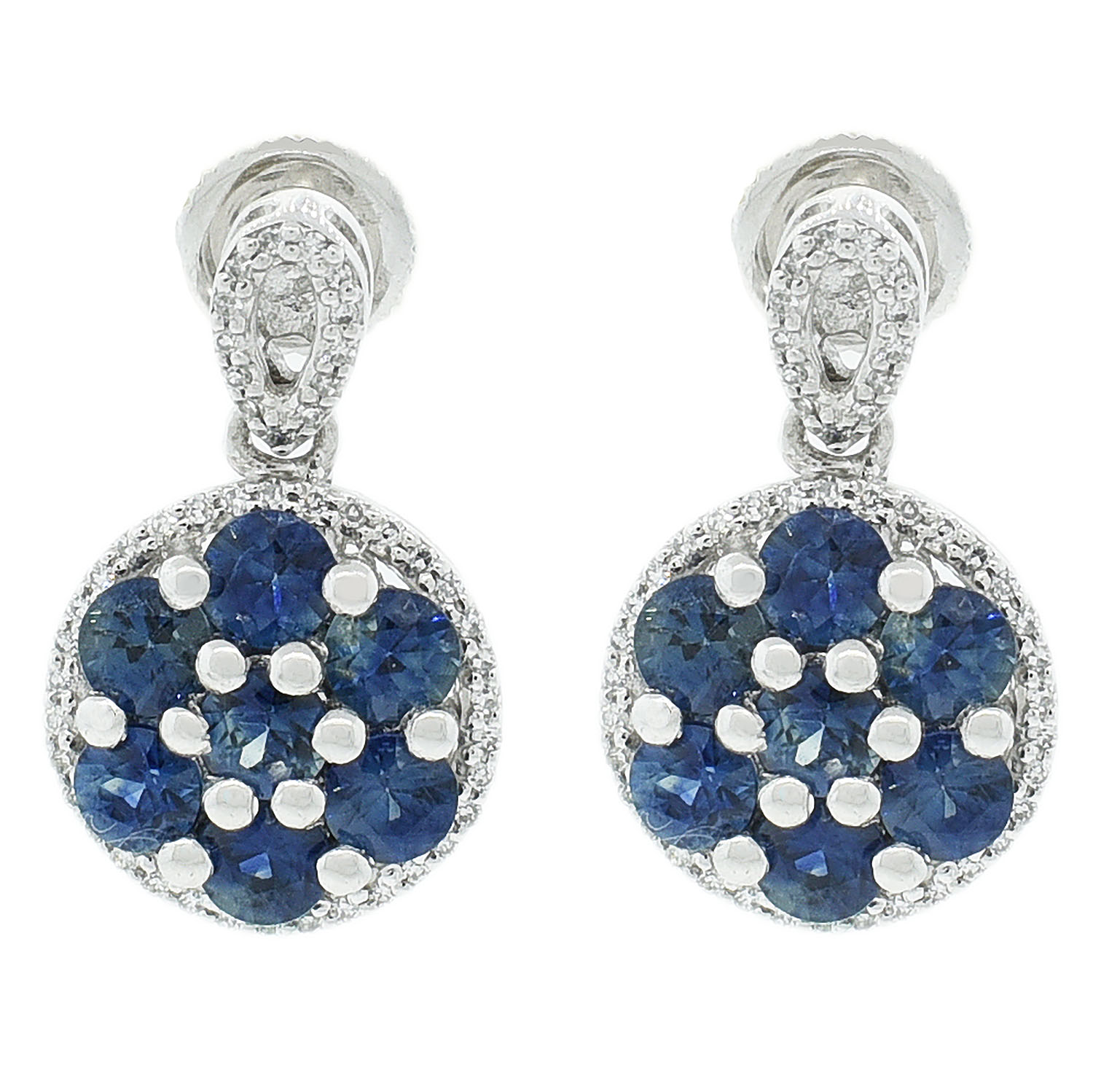 "Image of ""Platinum Blue Sapphire and Diamond Earrings"""