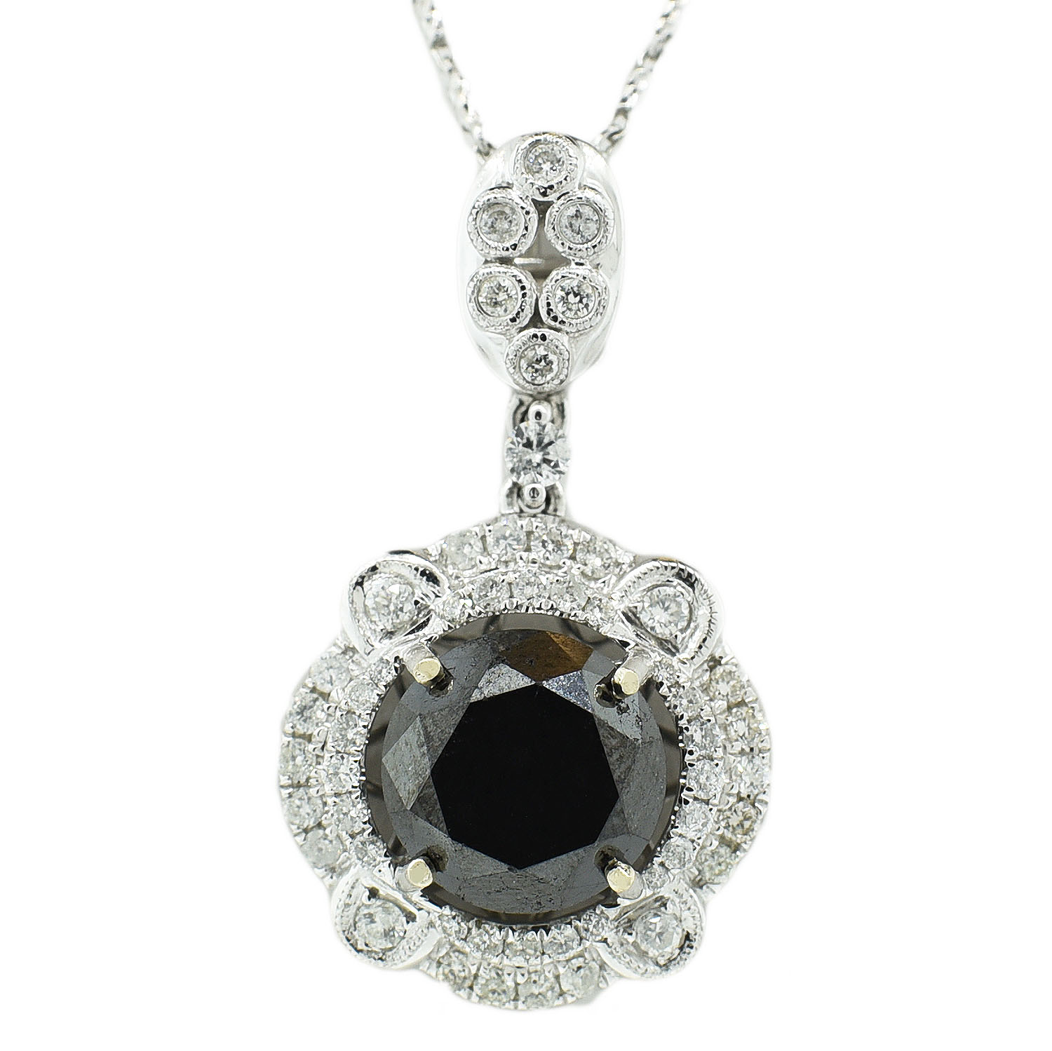 "Image of ""14K White Gold Black and White Diamond Pendant with Chain"""