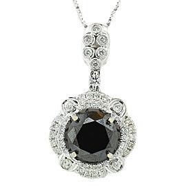 14K White Gold Black and White Diamond Pendant with Chain