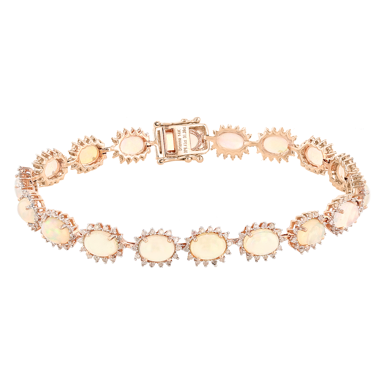 "Image of ""14K Rose Gold Opal and Diamond Bracelet"""