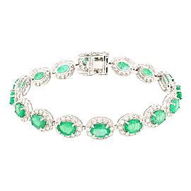 14K White Gold Emerald and Diamond Bracelet