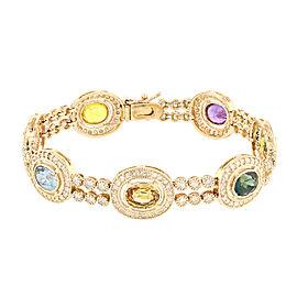 14K Yellow Gold Multi Color Sapphire and Diamond Bracelet