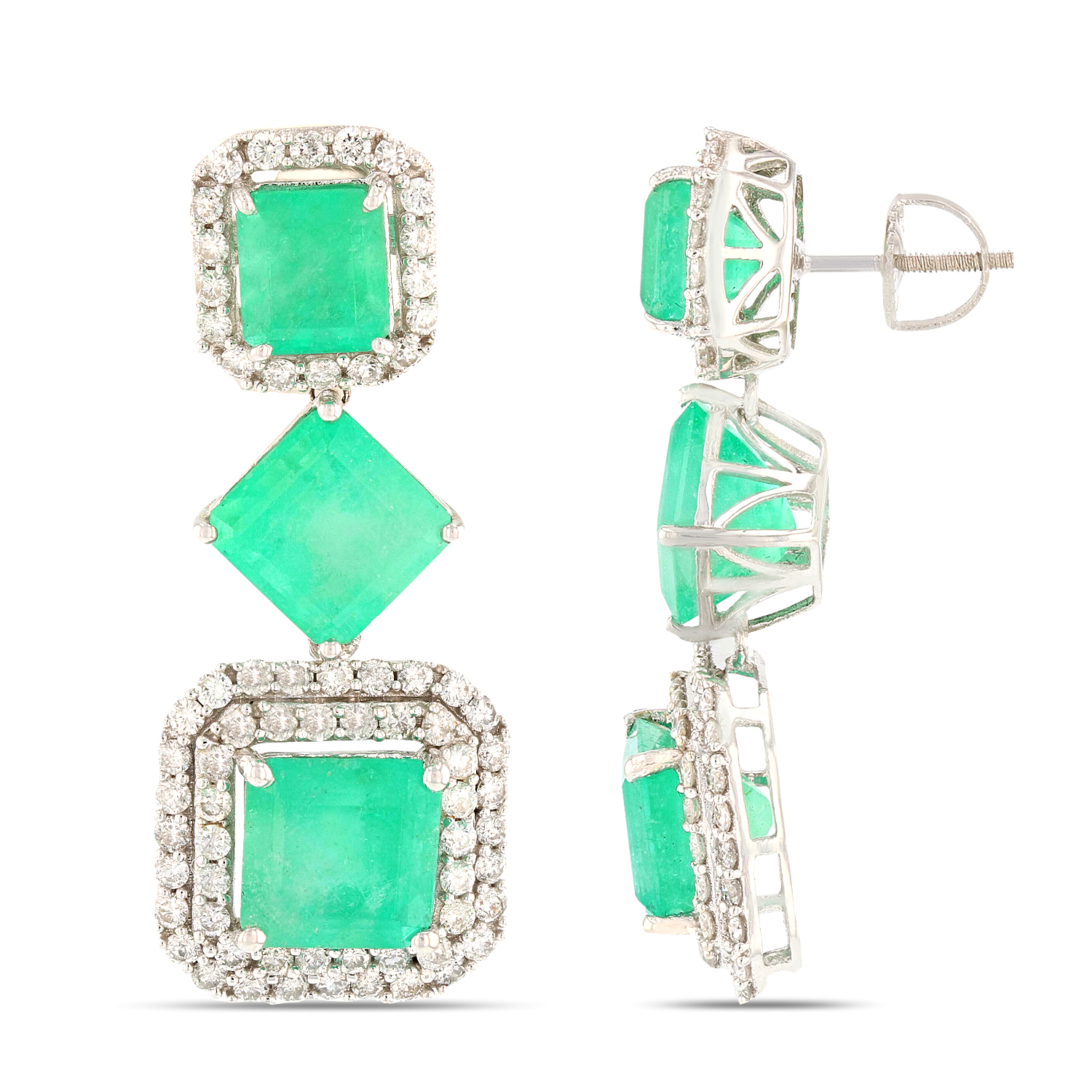 "Image of ""14K White Gold Emerald and Diamond Earrings"""