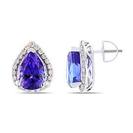 Platinum Tanzanite and Diamond Earrings