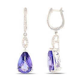 Platinum Tanzanite and Diamond Earrings GIA CERTIFIED