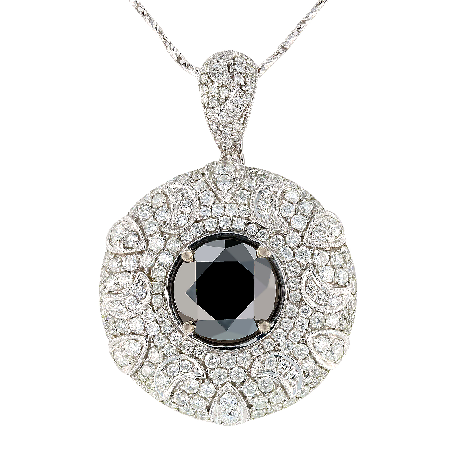"Image of ""14Kt White Gold Diamond Pendant/Enhancer with Chain EGL Certified"""
