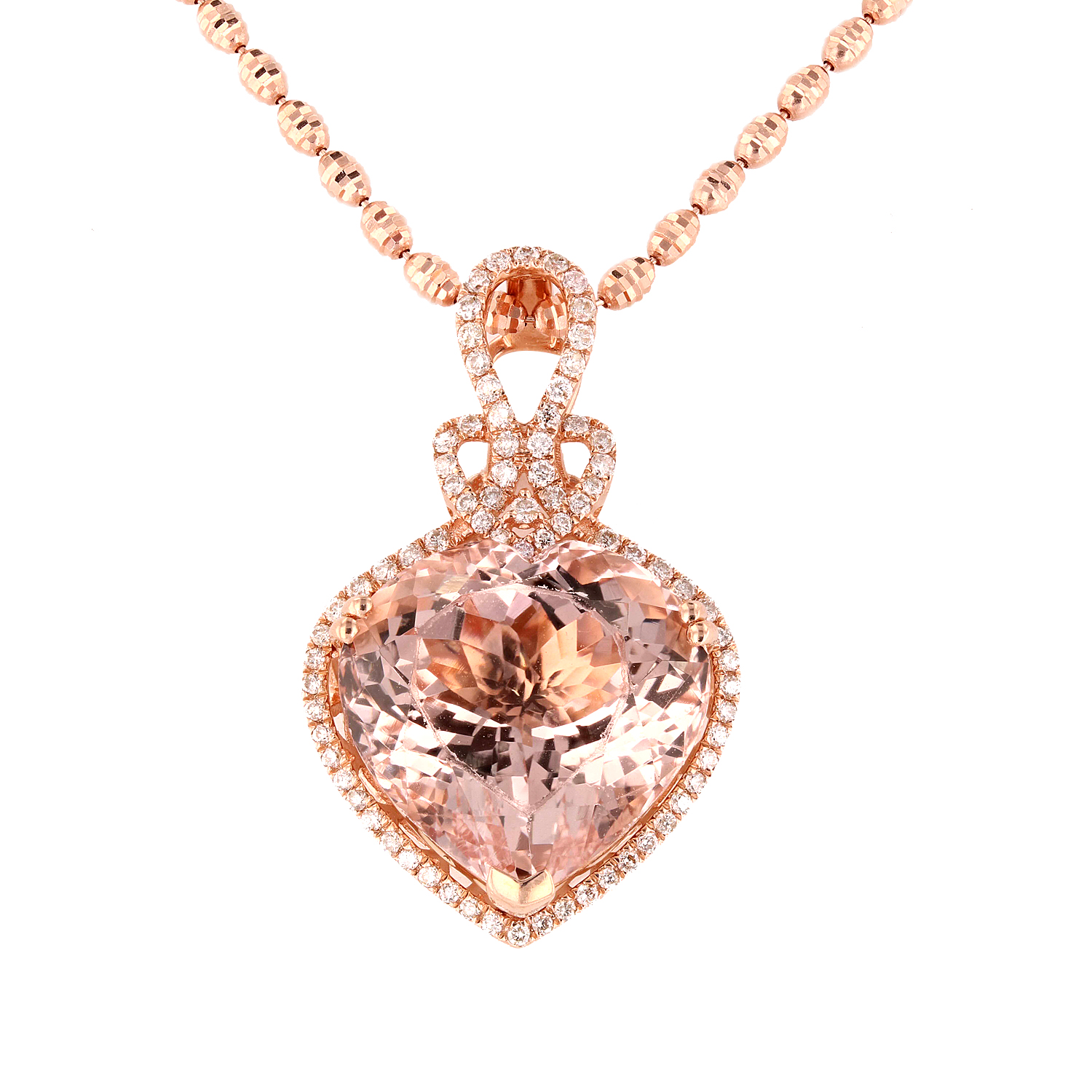 "Image of ""14Kt Rose Gold Morganite and Diamond Pendant with Chain GIA Certified"""