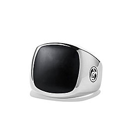 David Yurman 925 Sterling Silver and Black Onyx Signet Mens Ring