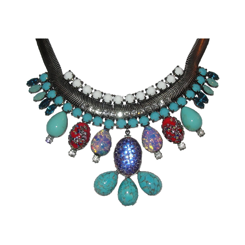"Image of ""Dannijo Silver Tone Oxidized Poured Glass Rhinestone Bib Necklace"""