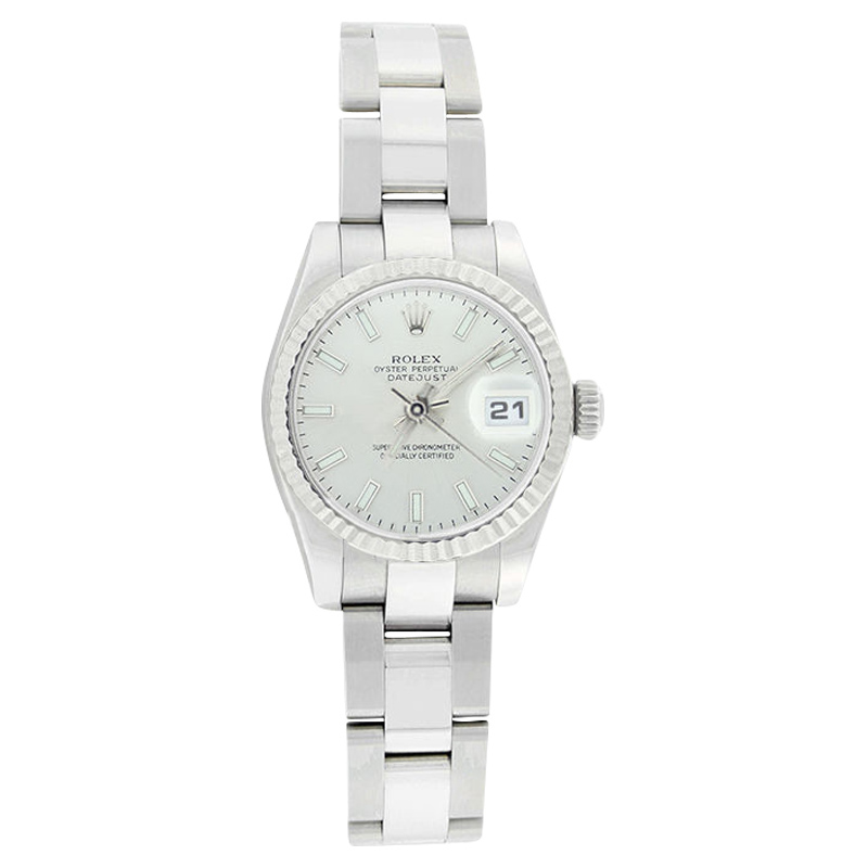"""Image of """"Rolex Datejust 179174 Oyster Stainless Steel Silver Stick Dial Womens"""""""