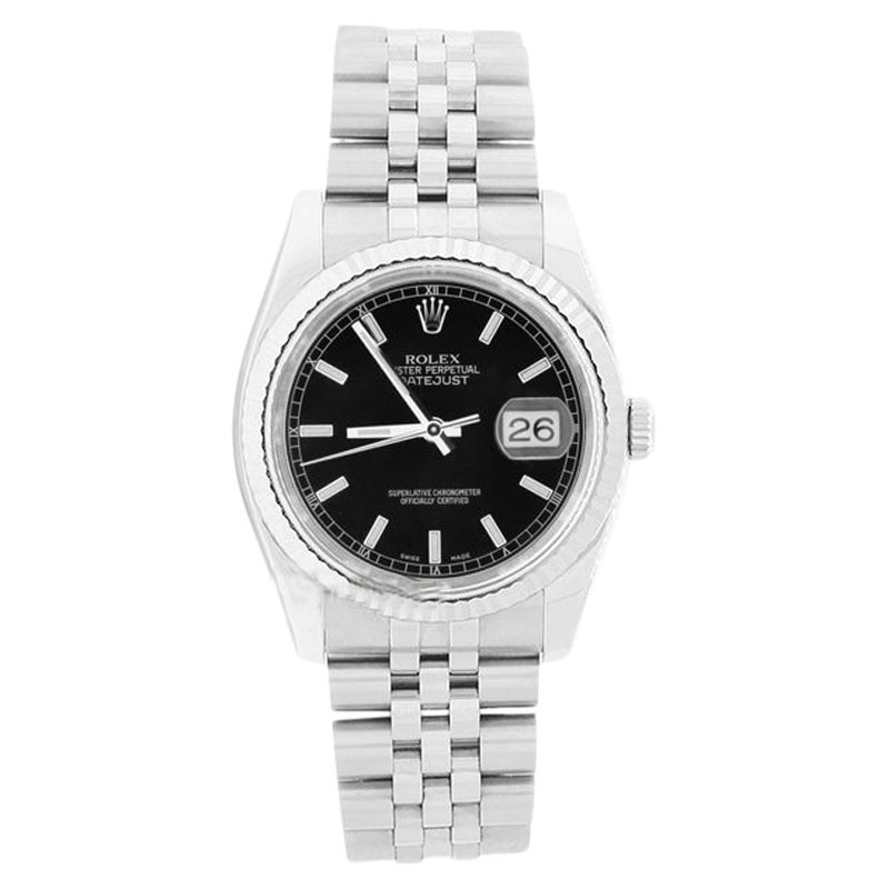 """Image of """"Rolex Datejust 116234 Stainless Steel Style Black Stick Dial 18K Gold"""""""