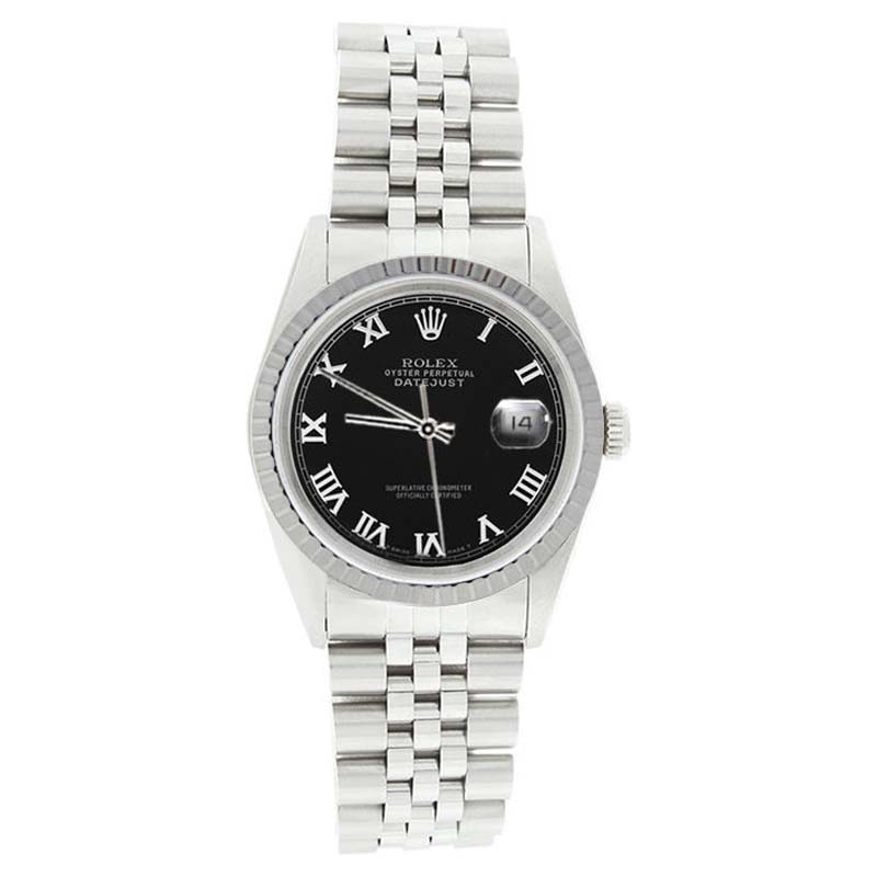 """Image of """"Rolex Datejust 16220 Stainless Steel Black Roman Dial Mens Watch"""""""