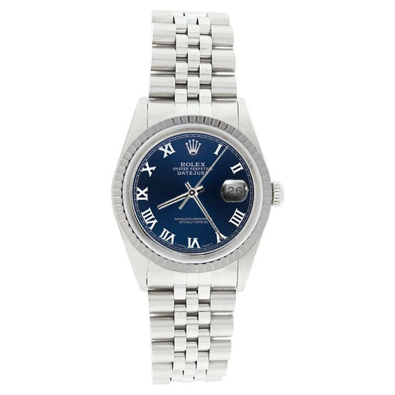 """Image of """"Rolex Datejust 16220 Stainless Steel Blue Roman Dial Mens Watch"""""""