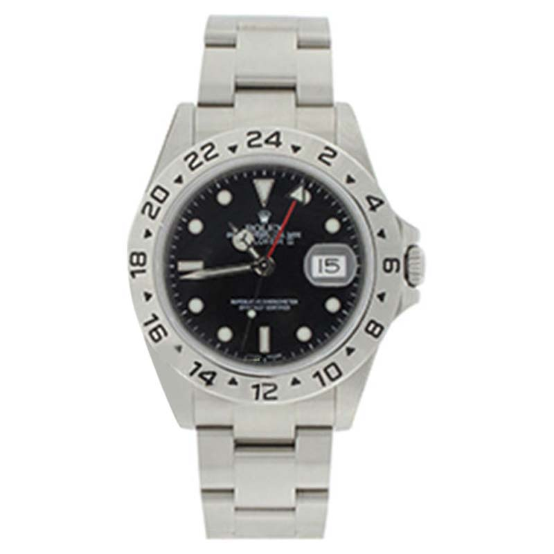 "Image of ""Rolex 16570 Stainless Steel Explorer Black Face Dial 24 Hour Bezel"""